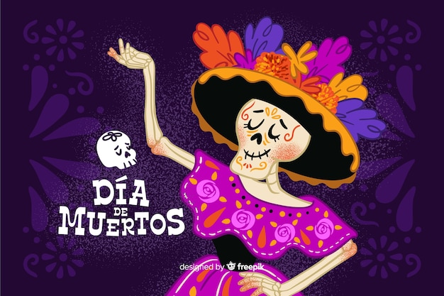 Hand drawn día de muertos with lady skeleton dancing background