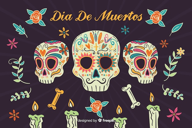 Hand drawn día de muertos with mafia skulls background