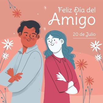 Hand drawn dia del amigo - 20 de julio illustration
