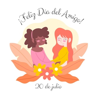 손으로 그린 디아 델 아미고-20 de julio illustration