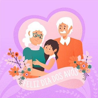 Hand drawn dia dos avós with grandparents