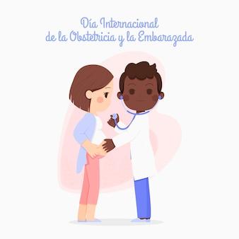 Ручной обращается dia internacional de la obstetricia y la embarazada иллюстрация Бесплатные векторы