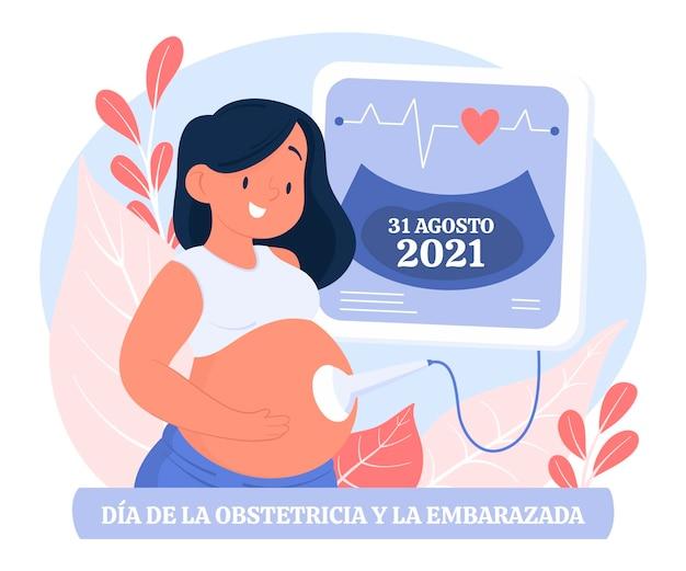 손으로 그린 디아 internacional de la obstetricia y la embarazada 그림