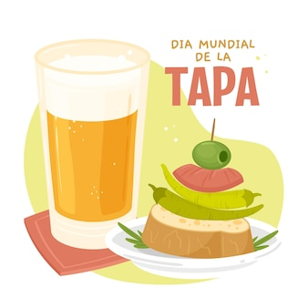 Нарисованная рукой иллюстрация dia mundial de la tapa
