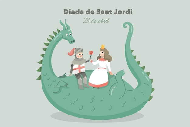 Нарисованная рукой иллюстрация diada de sant jordi с драконом, рыцарем и принцессой