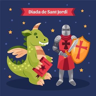 Illustrazione disegnata a mano di diada de sant jordi con drago e cavaliere