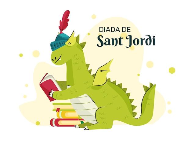 Hand drawn diada de sant jordi illustration with dragon reading book