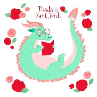 Нарисованная рукой иллюстрация diada de sant jordi с книгой для чтения дракона