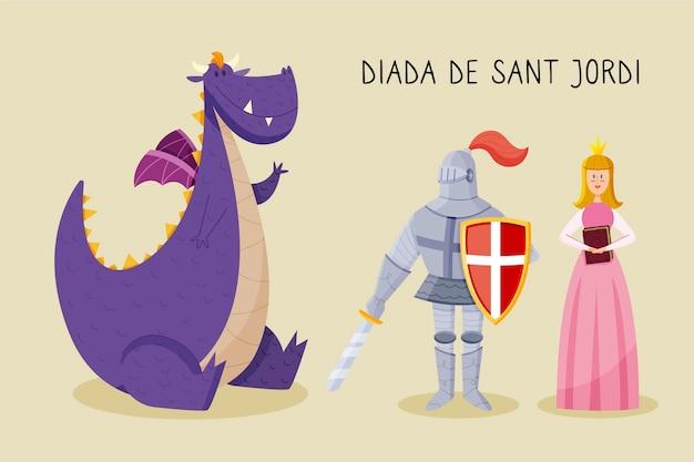 Нарисованная рукой иллюстрация diada de sant jordi с kngiht, драконом и принцессой