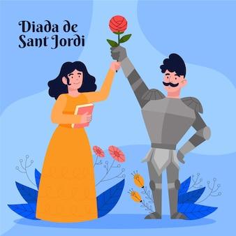 Нарисованная рукой иллюстрация diada de sant jordi с рыцарем и принцессой, держащей розу