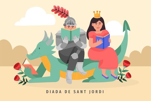 Нарисованная рукой иллюстрация diada de sant jordi с книгой для чтения рыцаря и принцессы