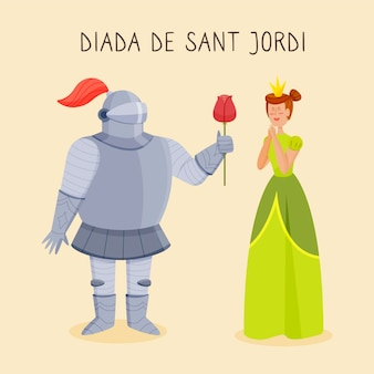 기사, 공주와 장미와 손으로 그린 diada de sant jordi 그림