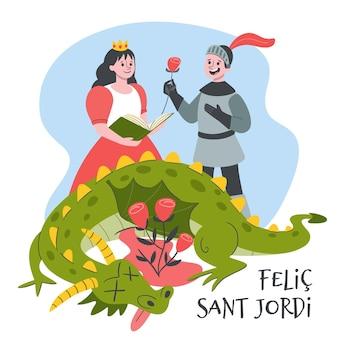 Illustrazione disegnata a mano di diada de sant jordi con cavaliere e principessa