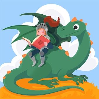 Illustrazione disegnata a mano di diada de sant jordi con il libro di lettura del cavaliere e il drago