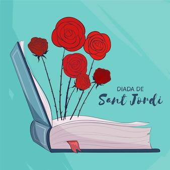 Нарисованная рукой иллюстрация diada de sant jordi с открытой книгой и розами