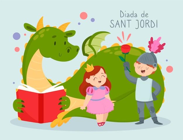 Нарисованная рукой иллюстрация diada de sant jordi
