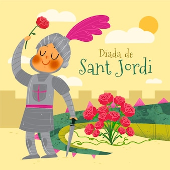 Illustrazione disegnata a mano di diada de sant jordi
