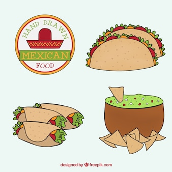 Hand drawn different mexican menus