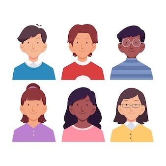 Pacchetto di icone di persone diverse disegnate a mano