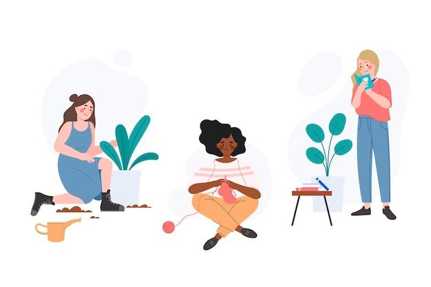 Набор рисованной разных людей, практикующих хобби