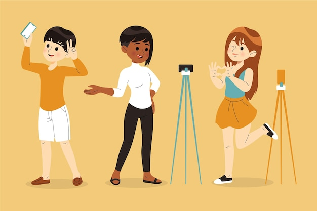 Hand drawn different people vlogging