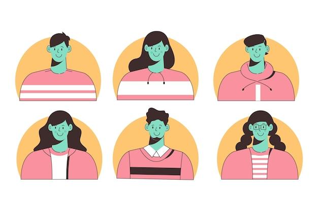 Icone del profilo diverse disegnate a mano illustrate
