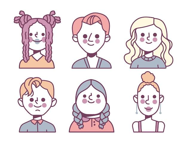 Pacchetto di icone di profilo diverso disegnate a mano