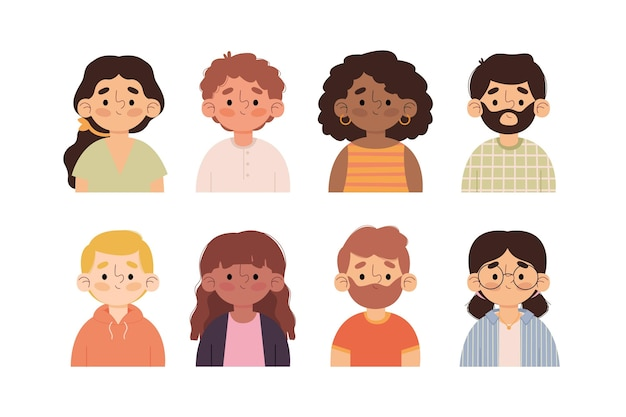 Hand drawn different profile icons pack