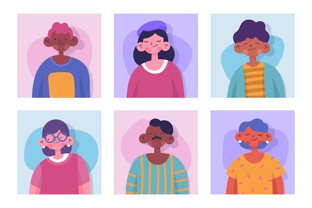 Набор рисованной различных иконок профиля