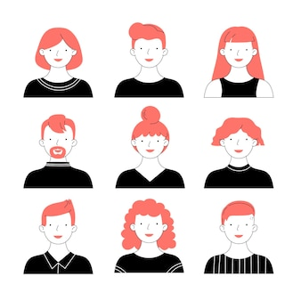Set di icone di profilo diverso disegnate a mano