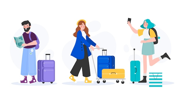 Hand drawn different tourists with their baggage set