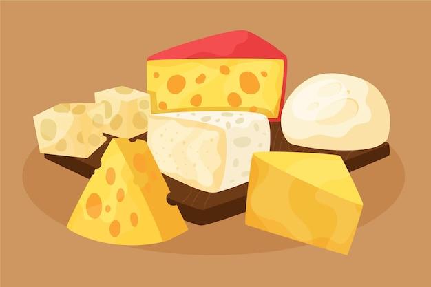 손으로 그린 다른 종류의 치즈