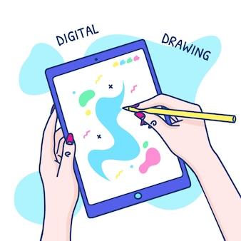 女性の手でタブレットのコンセプトに手描きのデジタル図面