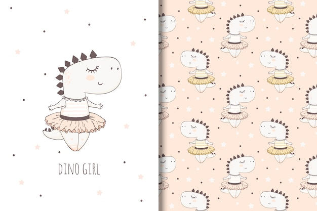 Hand drawn dino girl. illustration for girls and seamless pattern