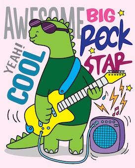 Hand drawn dino rock star for t shirt