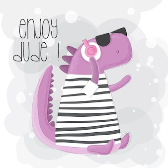 Hand drawn dino with headphone