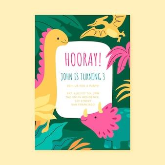 Hand drawn dinosaur birthday invitation template