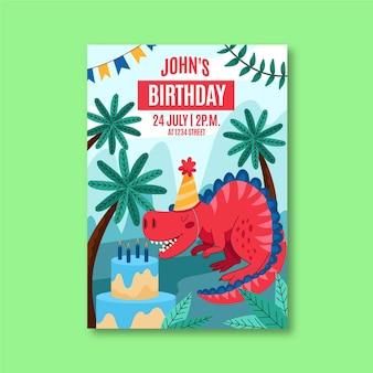 手描きの恐竜の誕生日の招待状のテンプレート