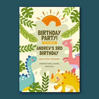Hand drawn dinosaur birthday invitation template