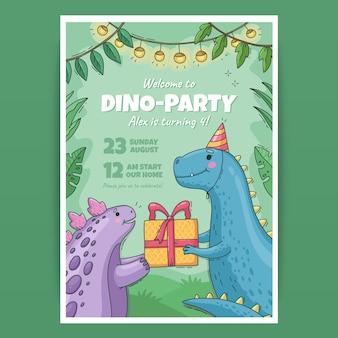 손으로 그린 공룡 생일 초대장 서식 파일
