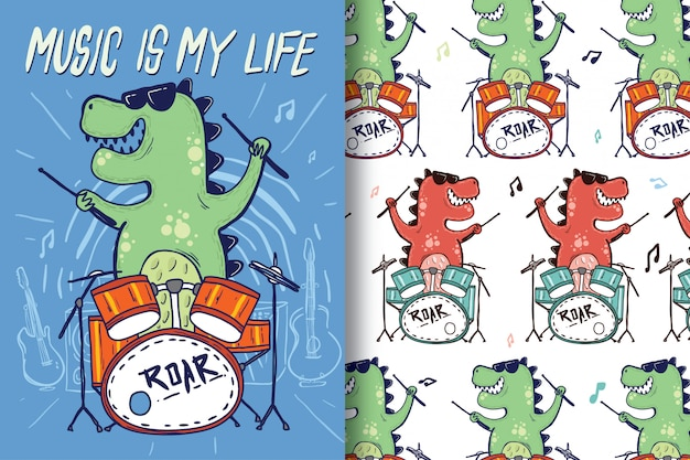 Hand-drawn dinosaur drums with pattern