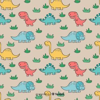 Hand drawn dinosaur pattern