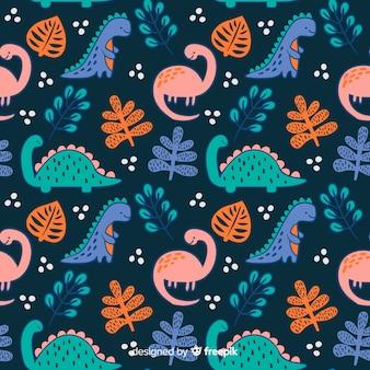 손으로 그린 공룡 패턴