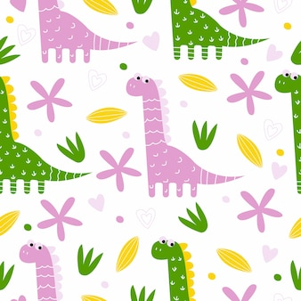 Hand drawn dinosaur seamless pattern