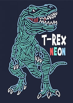 Hand drawn dinosaur vector for t shirt printing
