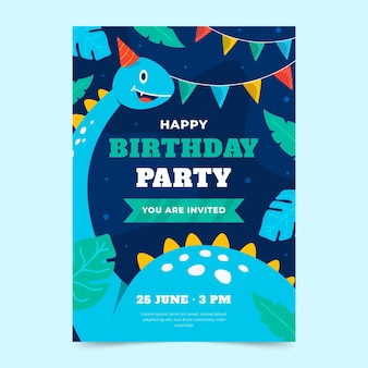 手描き恐竜垂直誕生日招待状テンプレート