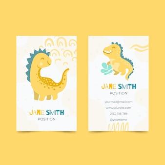 Biglietti da visita verticali dinosauro disegnato a mano