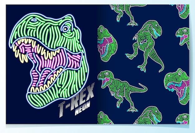 Hand drawn dinosaur with neon effect pattern set