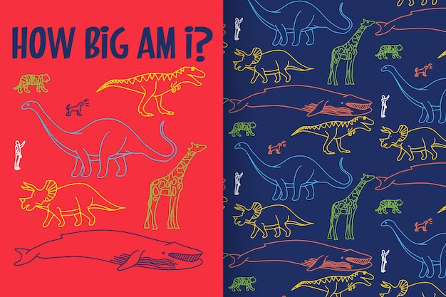 Hand drawn dinosaur with pattern vector set