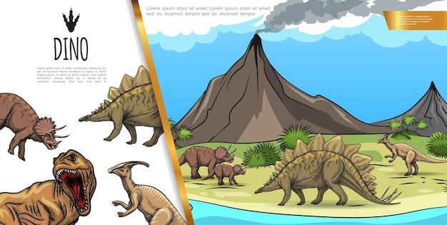 Concetto variopinto dei dinosauri disegnati a mano con il parasaurolophus del t-rex del triceratopo dello stegosauro sull'illustrazione del paesaggio del vulcano